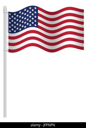 Illustration of American national flag of United States, isolated on white background - Stock Image