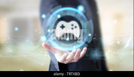 businessman hand with digital technology gaming concept - Stock Image