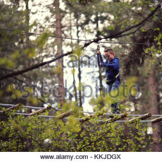 child on high ropes - Stock Image