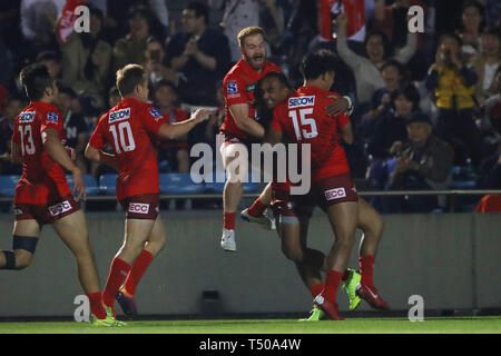 Tokyo, Japan. 19th Apr, 2019. Sunwolves team group Rugby : 2019 Super Rugby match between Sunwolves 23-29 Hurricanes at Prince Chichibu Memorial Stadium in Tokyo, Japan . Credit: YUTAKA/AFLO SPORT/Alamy Live News - Stock Image