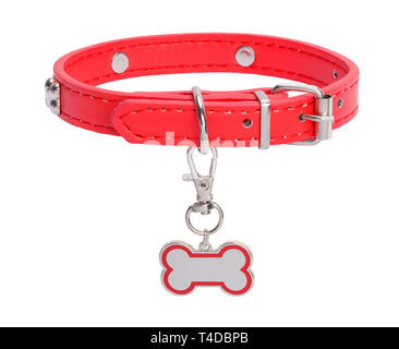 Red Leather Collar with Dog Bone Tag Isolated on White Background. - Stock Image