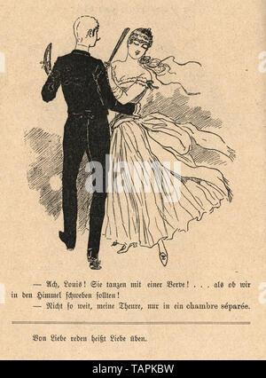 Victorian Cartoon of young couple dancing, 1880s, German - Stock Image