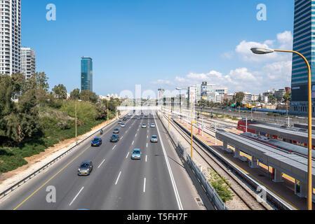 Israel, Tel Aviv-Yafo - 23 February 2019: Ayalon highway - Stock Image
