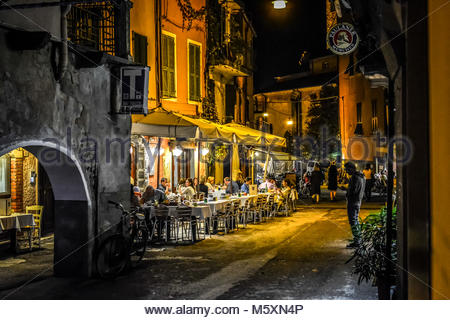 Late night in the village of Monterosso Al Mare, part of the Cinque Terre in Italy on the Italian Riviera as tourists - Stock Image