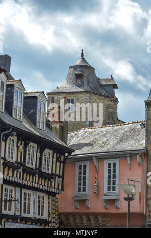 Rooftop Jumble in the historic city of Quimper in the Finistere Brittany, France. - Stock Image
