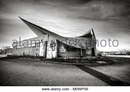 abandoned motorway services - Stock Image