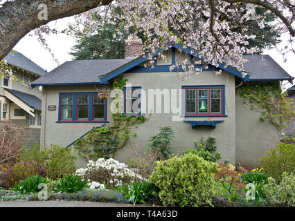 Detached home in a Victoria BC neighbourhood. House in Victoria BC in the Spring. - Stock Image