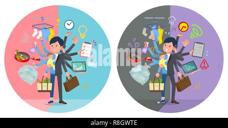 A set of businessman who perform multitasking in offices and private.There are things to do smoothly and a pattern that is in a panic.It's vector art  - Stock Image