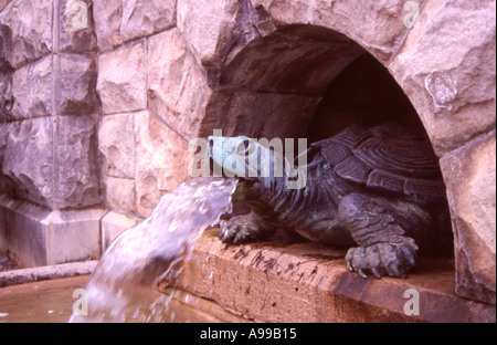 architectural brass element feature fountain green metal patina spewing spitting stones turtle water - Stock Image