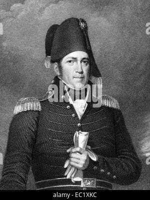 Jacob Brown (1775-1828) on engraving from 1835. American army officer in the War of 1812. - Stock Image