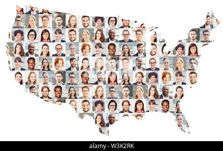 Portrait collage of business people on map of the USA as a business concept - Stock Image