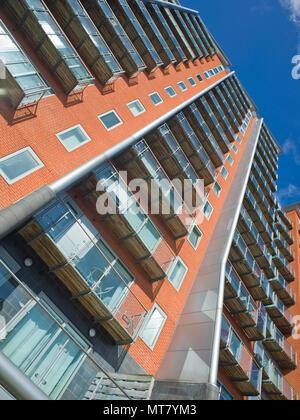 Modern Building Flats Apartments Leeds City Centre West Yorkshire UK - Stock Image