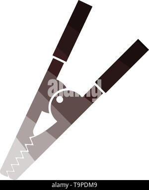 Crocodile Clip Icon. Flat Color Ladder Design. Vector Illustration. - Stock Image