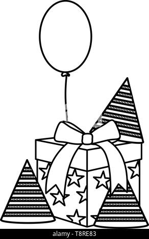 gift box with party hat and balloons helium floating vector illustration design - Stock Image