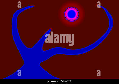Modern Art Computer Digital Paintings Abstract Concentration Creative Cosmic Power India 14/10/2007. - Stock Image