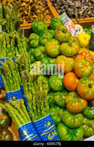 Fresh local produce, Mercat de l'Olivar, Palma, Mallorca, Balearic islands, Spain - Stock Image