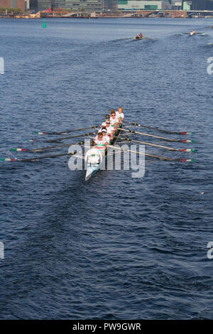 The 6,5 km Copenhagen Harbour Race 2018. This combined Kungälv/Mölndal Roddklubb Swedish junior eight crew  jm8+ under 19 won the class in 23:01.7 - Stock Image