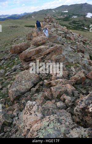 Hiker on Rocky Mountain National Park colorado ridge - Stock Image