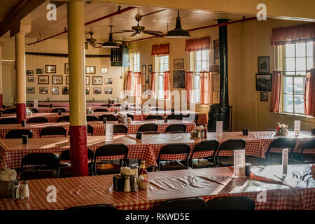 interior of the Samoa Cookhouse offering family-style American meals plus a logging museum. - Stock Image