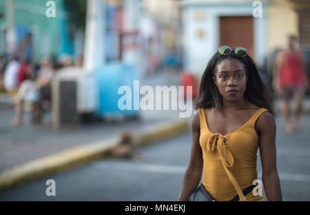 A woman, Getsemani, Cartagena, Colombia - Stock Image