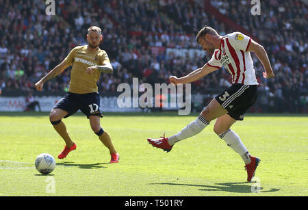 Sheffield United's Enda Stevens scores his side's second goal of the game during the Sky Bet Championship match at Bramall Lane, Sheffield. - Stock Image