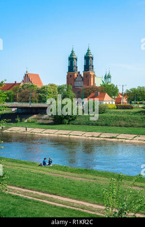 Cathedral Island Poznan, view of Cathedral Island (Ostrow Tumski) with the River Warta in the foreground, Poznan, Poland. - Stock Image