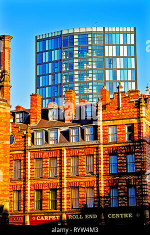 Sheffield the old and new architecture, sit side by side, England - Stock Image