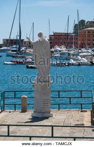 Statue of Santa Margherita at Tigullio Gulf, Santa Margherita Ligure, Italy - Stock Image