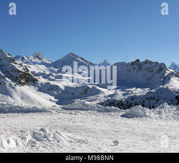 The swiss ski and snow-sport linked resort of St Luc and Chandolin in the Valais region of Switzerland - Stock Image