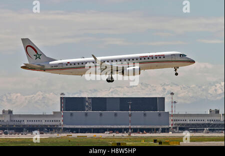 Royal Air Maroc Embraer 190-195 at Milan - Malpensa (MXP / LIMC) Italy - Stock Image