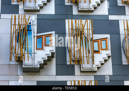 Windows on the Scottish Parliament Building (by Enric Miralles 2004), Holyrood, Edinburgh, Scotland, UK - Stock Image