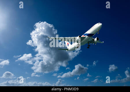 Sydney, New South Wales, Australia - February 4. 2016: commercial passenger jet aircraft in flight departing Kingsford Smith Airport, Mascott. - Stock Image
