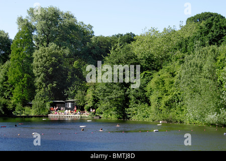 People swimming in Highgate ponds Hampstead Heath London - Stock Image