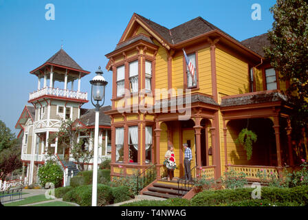 California San Diego Heritage County Park relocated Victorian homes - Stock Image