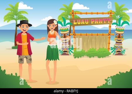 A vector illustration of Hawaiian Luau Party - Stock Image