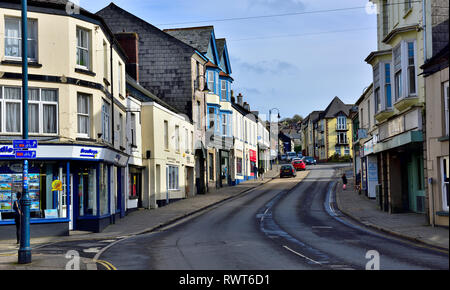 Fore St, main shopping high street Okehampton, Devon, England - Stock Image