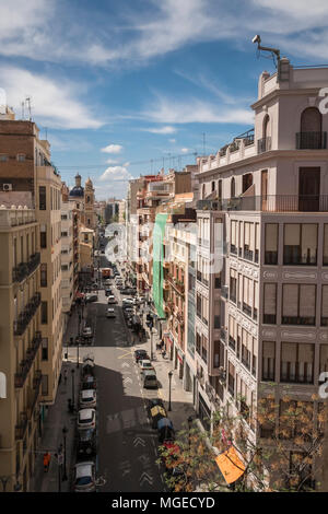 View of buildings and street scene on Carrer de Quart from top of Torres de Quart, Barrio Del Carmen district, Valencia, Spain. - Stock Image