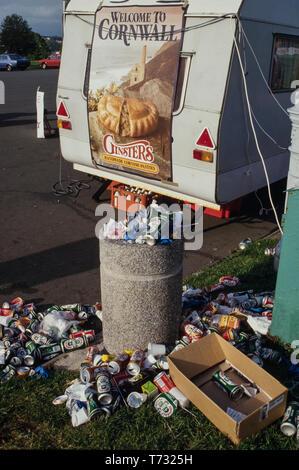 Cornwall England. 2000. Rubbish bins overflowing - Stock Image