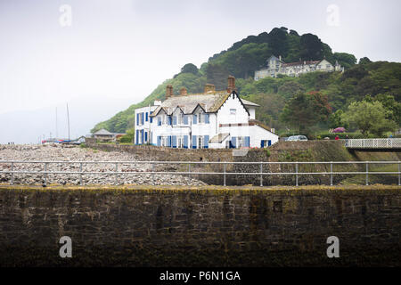 The Rock House Hotel, an eighteenth-century inn on the seafront at Lynmouth, North Devon. - Stock Image