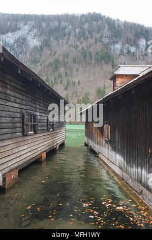 Boat houses on Lake Königssee, Schönau am Königsee district, Berchtesgaden Alps, Bavaria, Germany - Stock Image