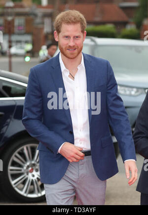 The Duke of Sussex arrives for a concert hosted by Sentebale in Hampton Court Palace in East Molesey, to raise awareness and vital funds for the Duke's charity, Sentebale, which helps young people in southern Africa affected by HIV. - Stock Image