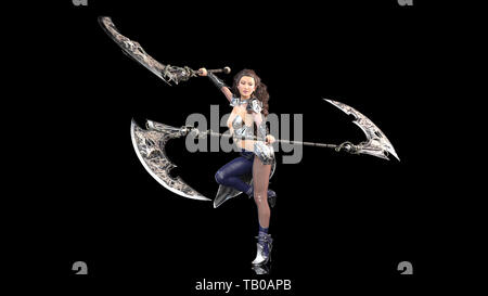 Ancient warrior princess, female fantasy fighter in battle armor wielding medieval scythe blades, isolated on black, 3D rendering - Stock Image