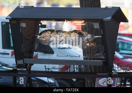 Machine roasting meat in foil on the outdoor - Stock Image