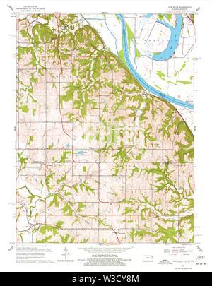 USGS TOPO Map Kansas KS Oak Mills 801912 1961 24000 Restoration - Stock Image