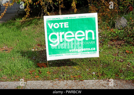 Green Party of Vancouver campaign sign for the 2018 Vancouver Municipal Elections, Vancouver, BC, Canada - Stock Image