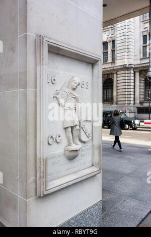1817 relief outside 7 newgate street, City of London, UK - Stock Image