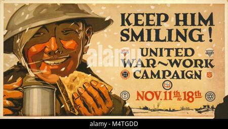 First World war American propaganda poster 'Keep him Smiling'  United War Work campaign - Stock Image