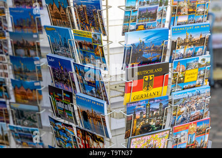 Souvenir Shop, Postcards on the Ršmerberg, Frankfurt am Main, - Stock Image