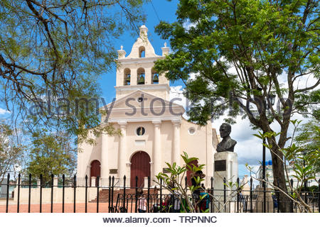 'El Carmen' Catholic church which is a Cuban National Monument and a tourist attraction in the Central city of the Caribbean island. There is a bust o - Stock Image