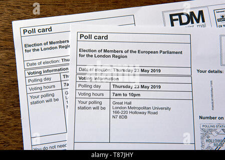 Two Pole Cards for the European Parliament elections on 23rd May 2019, London Region UK - Stock Image